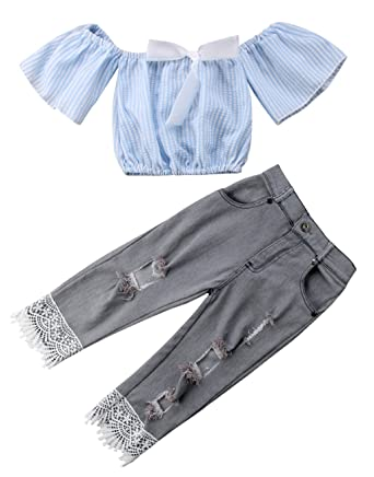 49c60fc7d5b19 Baby Girls Striped Off Shoulder Crop Tops Shirt with Bowknot + Denim Ripped  Holes Skinny Jeans