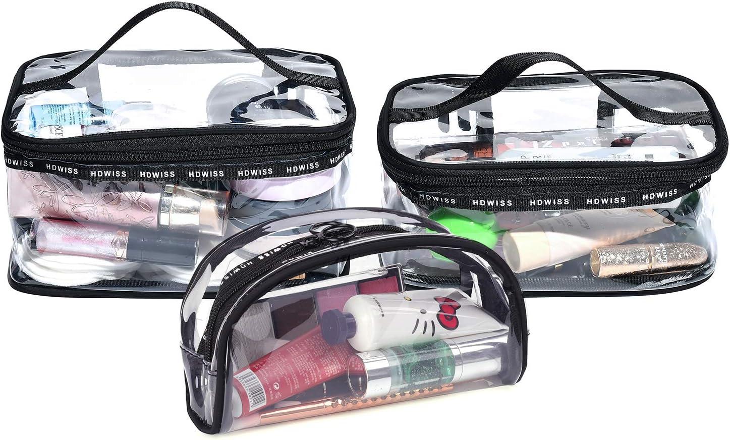 BeeViuc Conjunto de 3 Piezas Neceseres para Maquillaje PVC Transparente Bolsa de cosméticos a Prueba de Agua Bolsa de Lavado portátil de Herramientas de Belleza necesarias - Negro