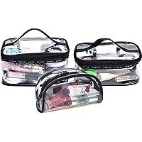 BeeViuc 3 pcs Trousse de Maquillage Transparent Trousse de Toilette en PVC pour Femmes Fille Ado Sac Cosmétique de Voyage Portable Pochette de Maquillage - Noir