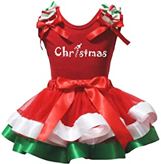 Petitebella Plain White Shirt Red Petal Skirt Green Ribbon Xmas Set Nb-8y