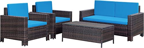 Homall 4 Pieces Outdoor Patio Furniture Sets Rattan Chair Wicker Conversation Sofa Set