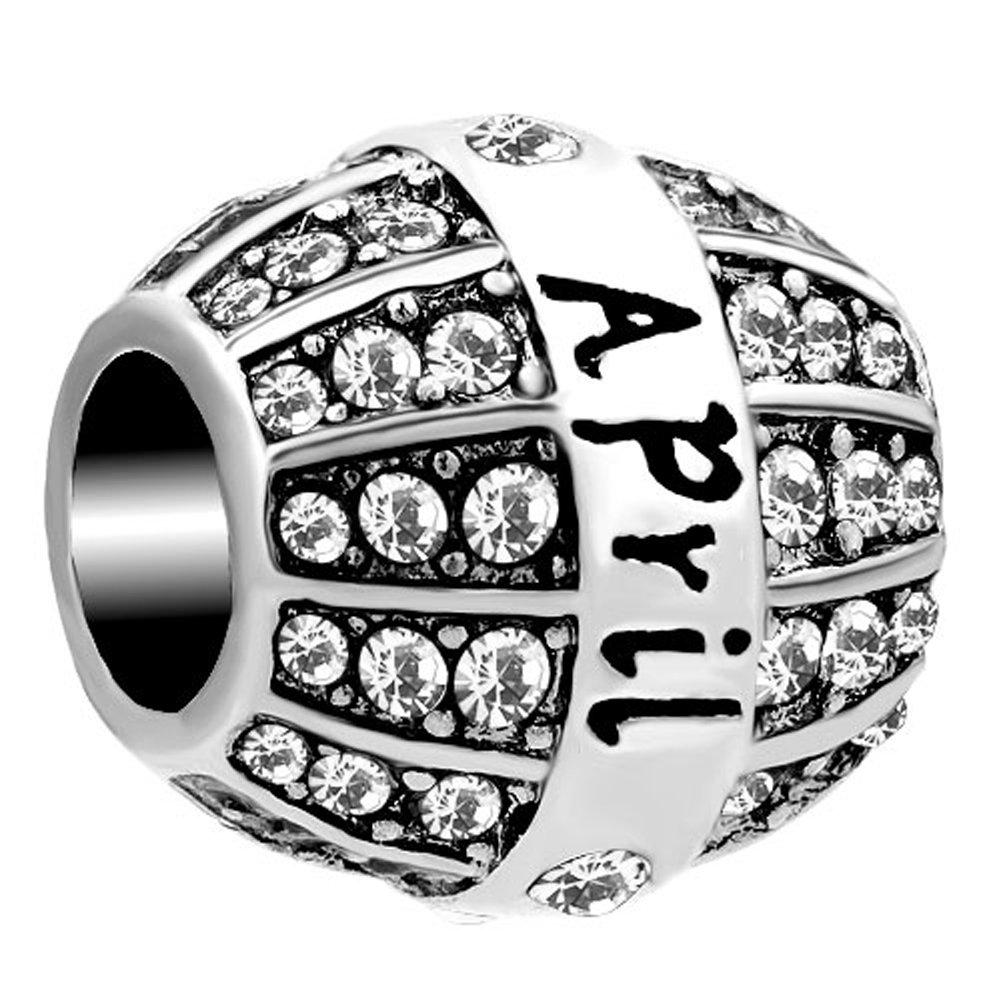 fran/çais non garanti Korliya Breloque pierre de naissance orn/ée de cristaux pour bracelet Perle avec l/'inscription du mois de naissance de janvier /à d/écembre