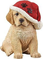 Santa Puppy Dog Tabletop Figurine, Golden Retreiver