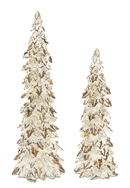 Christmas Tablescape Decor - Glittered gold and white holly trees with pines cones table top decorations