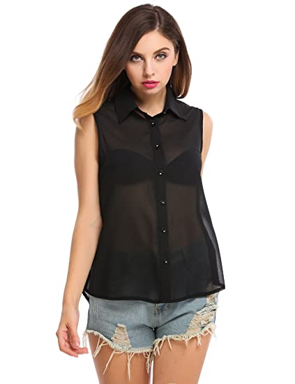 242220e9abba55 Image Unavailable. Image not available for. Color  Meaneor Women s Button  Down Blouse Sleeveless Semi Sheer Chiffon Shirt