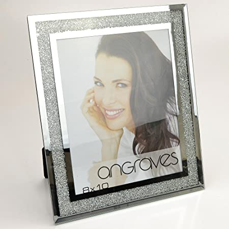 Angraves Diamond Crushed Silver Mirror Photo Frame 8 x 10 Inch ...