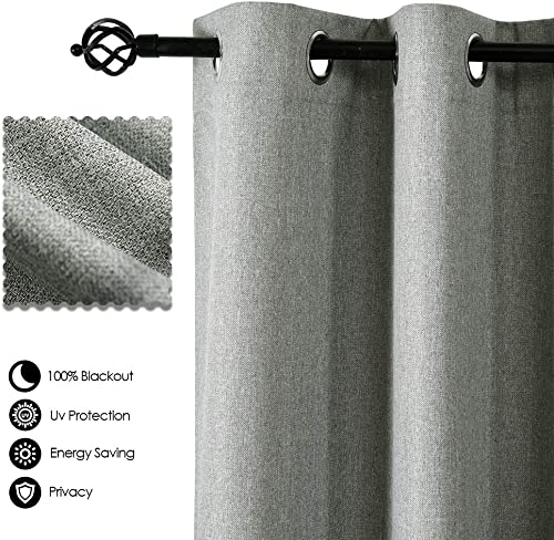 ALLBRIGHT Window Treatment Curtains Blackout Drapery Panels- Faux Linen Blackout Drapes for Farm House 2 Panels, 52 x 96 Inch, Neutral Grey