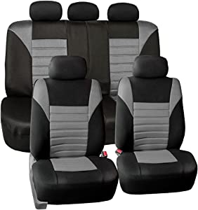 FH Group FB068GRAY115 Universal Car Seat Cover (Premium 3D Air mesh Design Airbag and Rear Split Bench Compatible Gray)