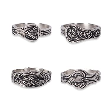 DII Antique-inspired Napkin Rings for Wedding Receptions, Dinner Parties, Family Gatherings, & Everyday Use - Vintage Silver Spoon, Set of 4