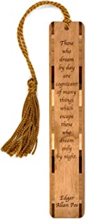 product image for Personalized Edgar Allan Poe Daydreaming Quote, Engraved Wood Bookmark with Tassel
