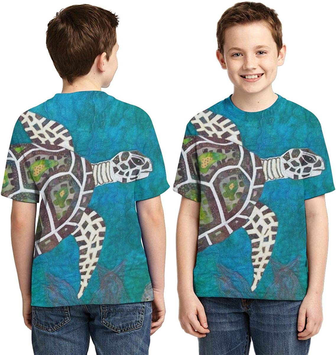 Boy Youth Children Novelty T Shirt Short Sleeve Tee Sea Turtle