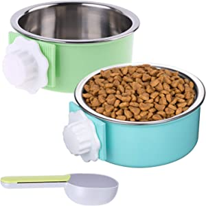 Mechpia 2 Pieces Crate Dog Bowl, Removable Stainless Steel Pet Kennel Hanging Food Water Feeder Bowl Cage Coop Cup with Spoon for Puppy Medium Dog Cat Rabbit Ferret Bird