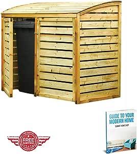 Natural madera curvado techo estilo doble de madera Wheelie Bin tienda unidad armario contenedor para exteriores Garden & eBook por Cumbre casa tienda: Amazon.es: Jardín