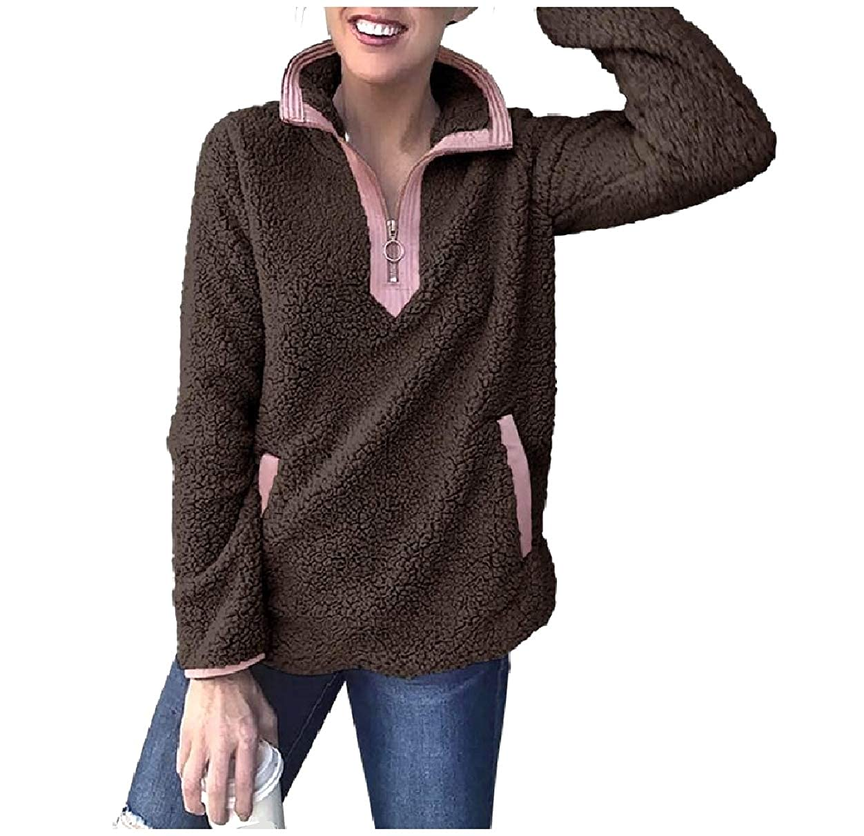 Abetteric Women Contrast Color Fleece Long-Sleeve Loose 1//4 Zip Sweatshirt