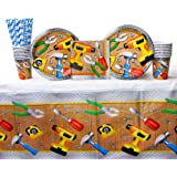 Handyman Supply Pack for 16 Guests: Straws, Dinner Plates, Luncheon Napkins, Cups, and Tablecover (Bundle for 16)