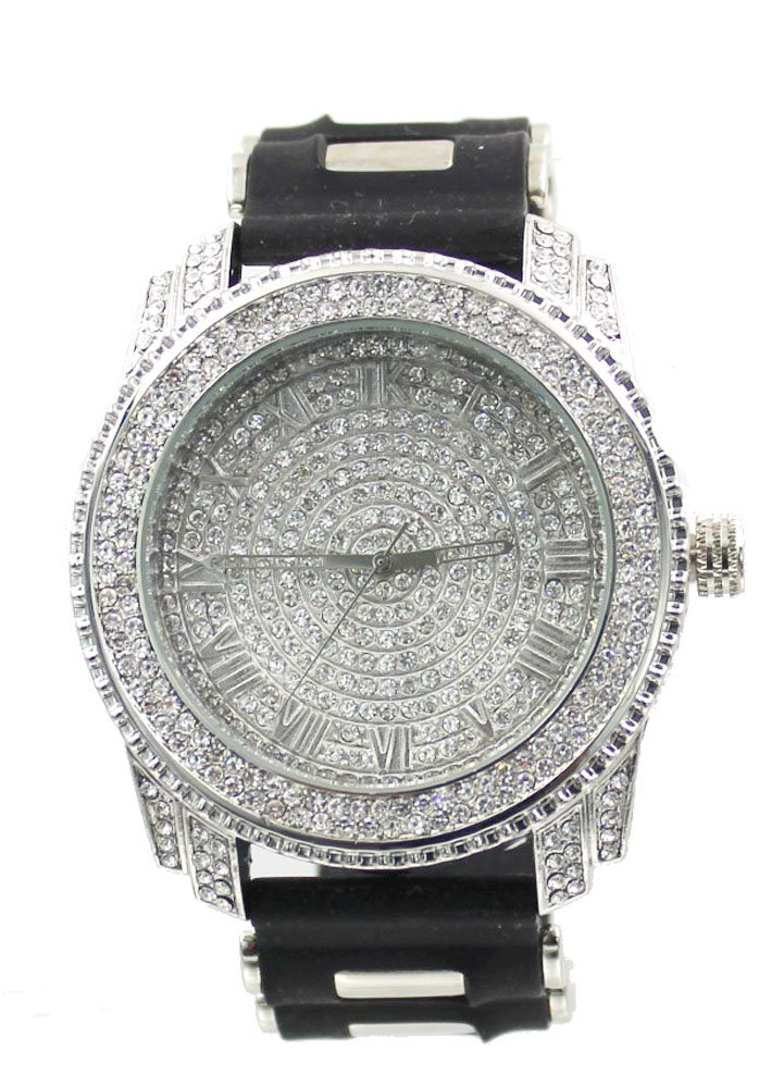 Iced Out Pave Silver Tone Hip Hop Men's Bling Bling Watch
