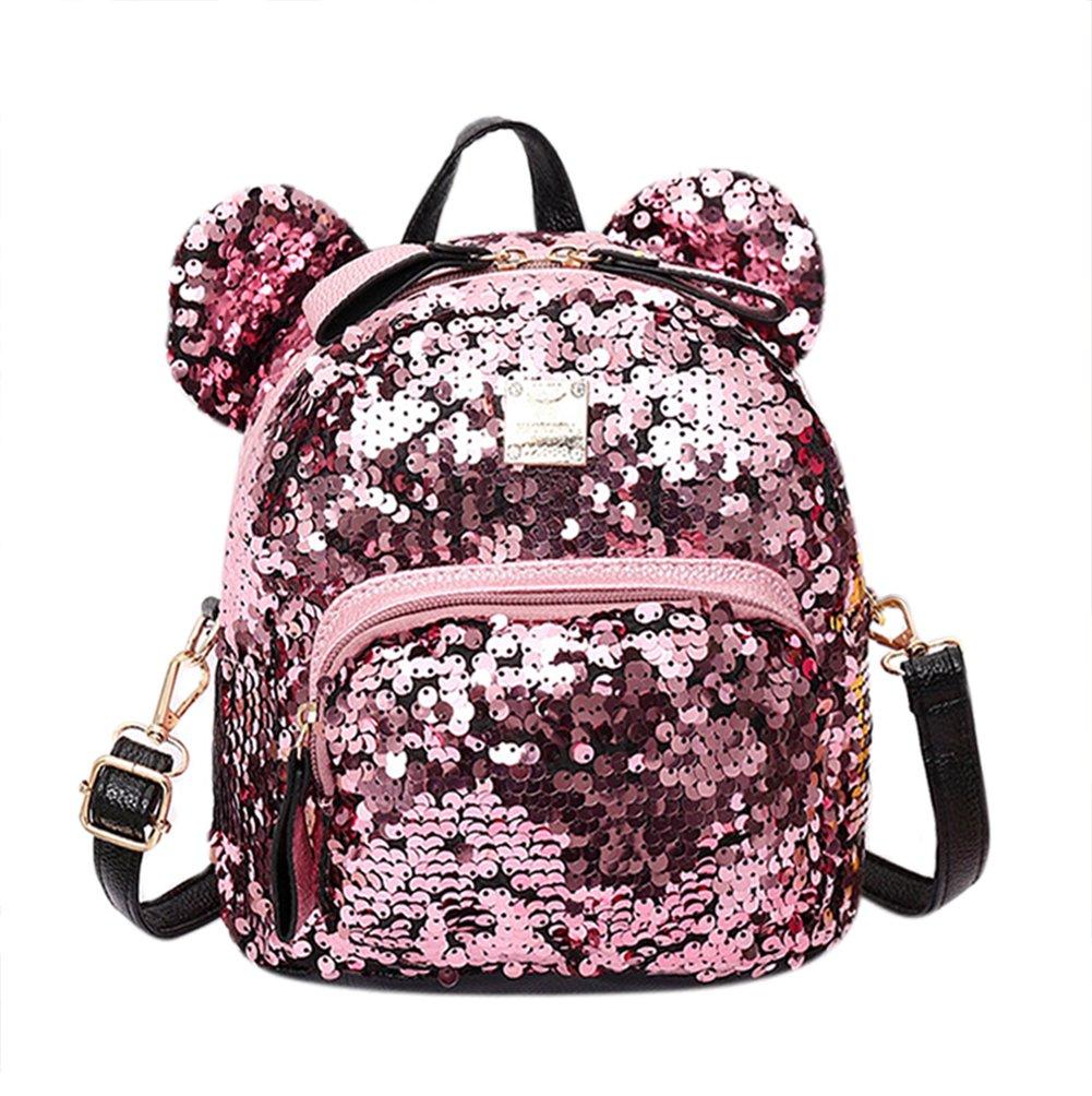 Women Girls Dazzling Sequins Backpack with Cute Ears Schoolbag Shoulder Bag Satchel (pink)