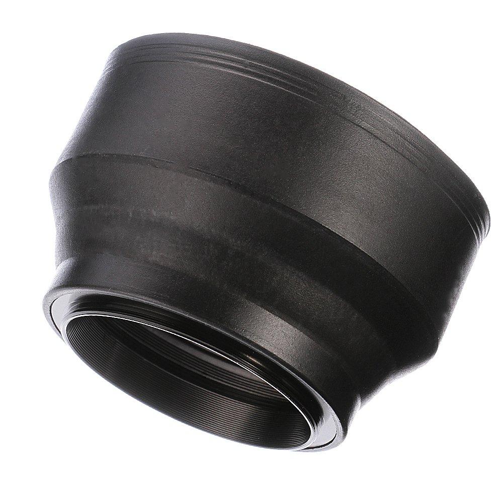 Fotga 55mm 3-Section 3-in-1 Rubber Lens Hood for Dslr Cameras Lenses Cap Filters
