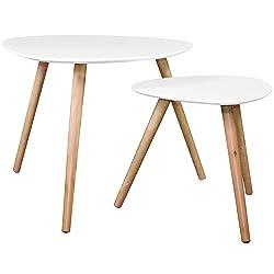 Set de 2 tables basses gigognes blanches