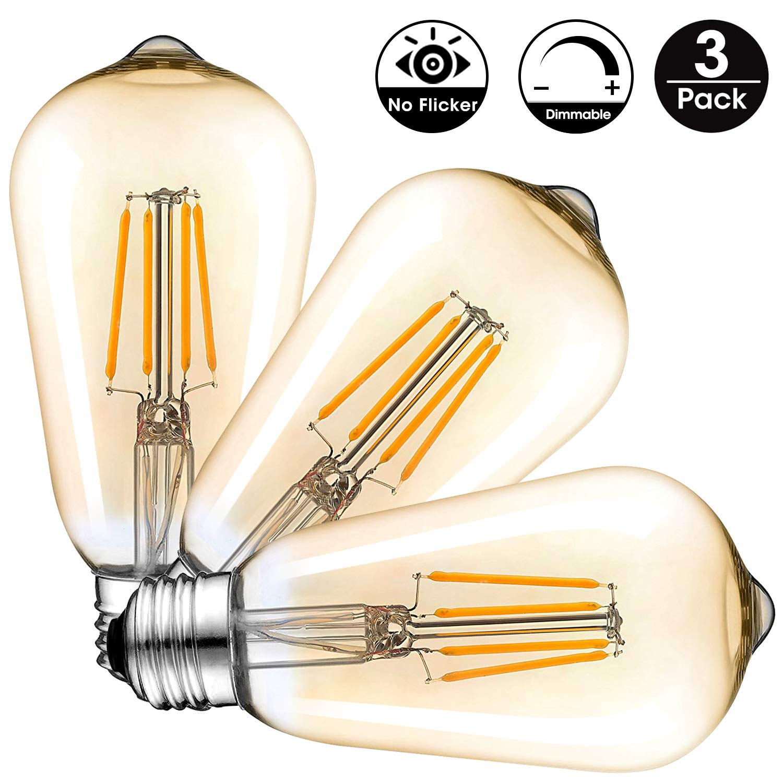 Vintage Edison LED Bombilla, 6W E27 Retro Antigua Regulable Edison Bombilla de Filamento LED Bombilla