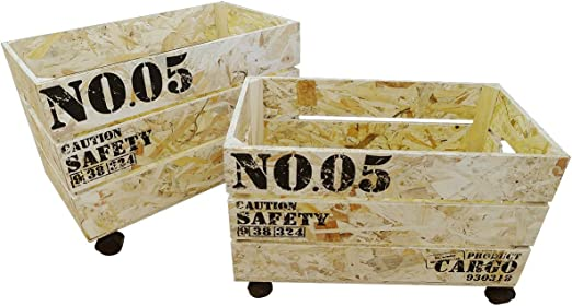 MAIKO Set de Cajas de con Ruedas, Madera, Natural, 50x30x35 cm, 2 Unidades: Amazon.es: Hogar