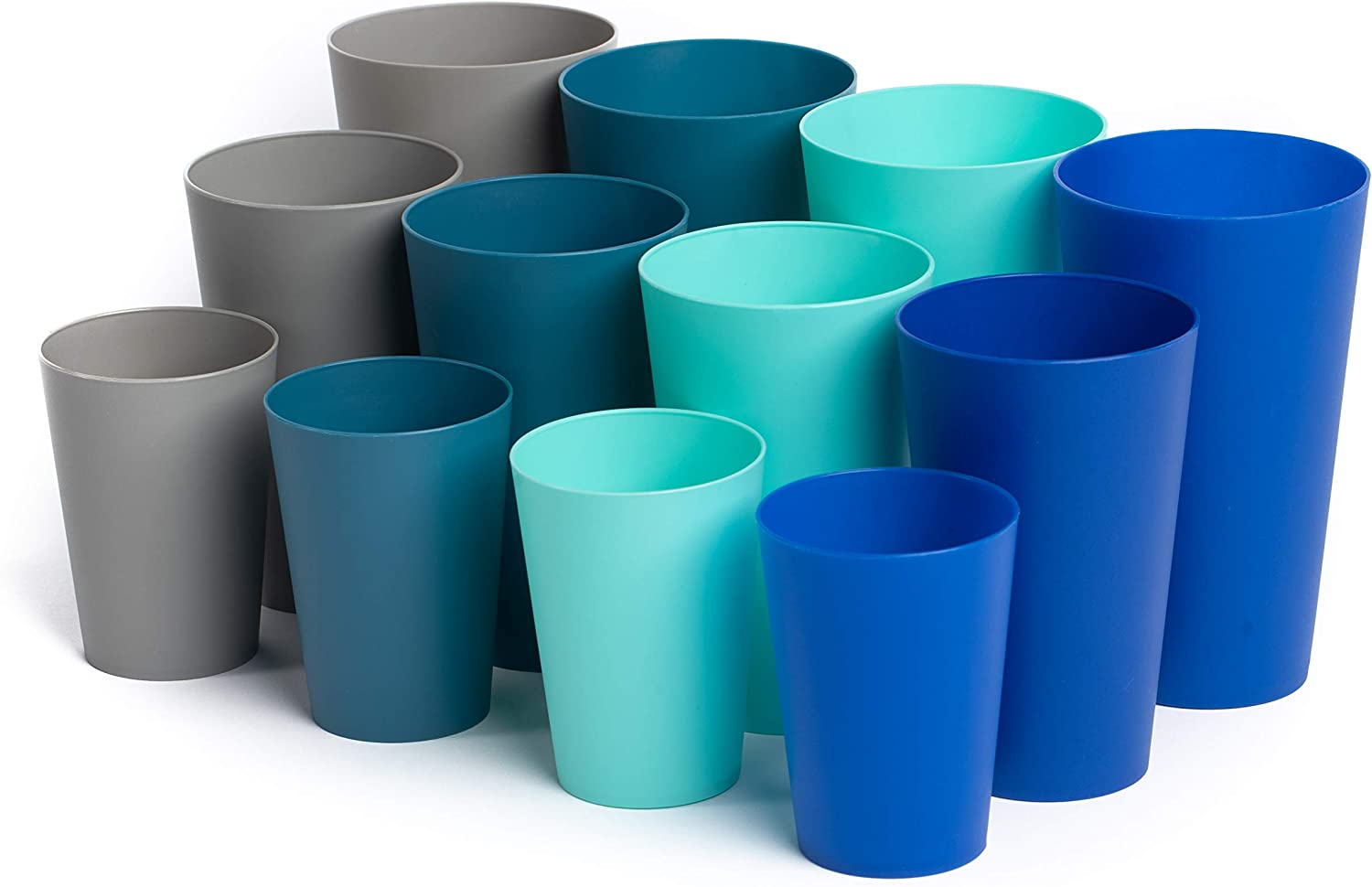 Klickpick Home Multi Size 10 Ounce 15 Ounce 20 Ounce - 12 Piece Premium Quality Plastic Beverage Tumblers Reusable Cups Dishwasher Safe BPAFree In 4 Coastal Colours
