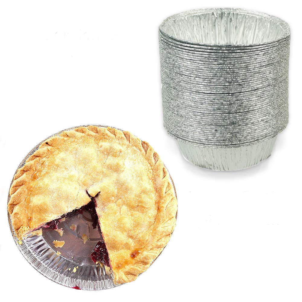 """4"""" Round Tart/Small Pie Tin Foil Pans - Freezer & Oven Safe Disposable Aluminum - For Baking, Cooking, Storage & Reheating - Pack of 50"""