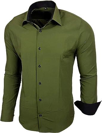 Baxboy - Camisa de manga larga para hombre, de corte ajustado, fácil de planchar, para trajes, trabajo, bodas, tiempo libre, R-44 caqui XXXXL