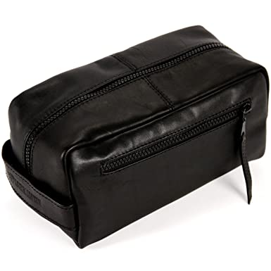 414afb7c291 Logical Leather Toiletry Bag - Genuine Leather Dopp Kit Shaving Tote - Black