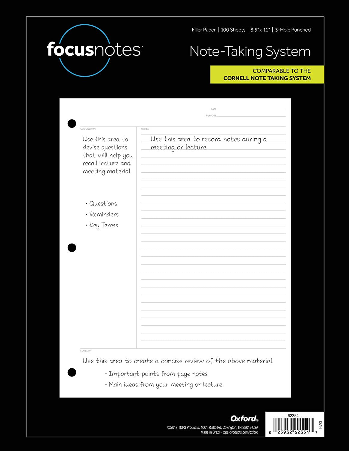 Tops FocusNotes Note Taking System Filler Paper, 8.5 x 11 Inch, 3-Hole Punched, White, 100 Sheets (62354)