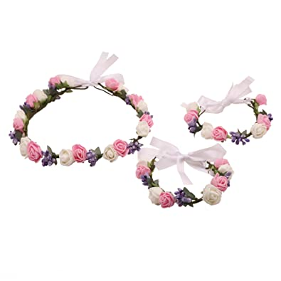 Bohemian Rosie Purple Pink White Floral Adjustable Tiara Crown And