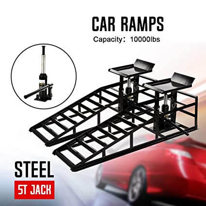 Aebitsry Pair Hydraulic Vehicle Car Ramps 10,000lbs Capacity Portable for Car Repair