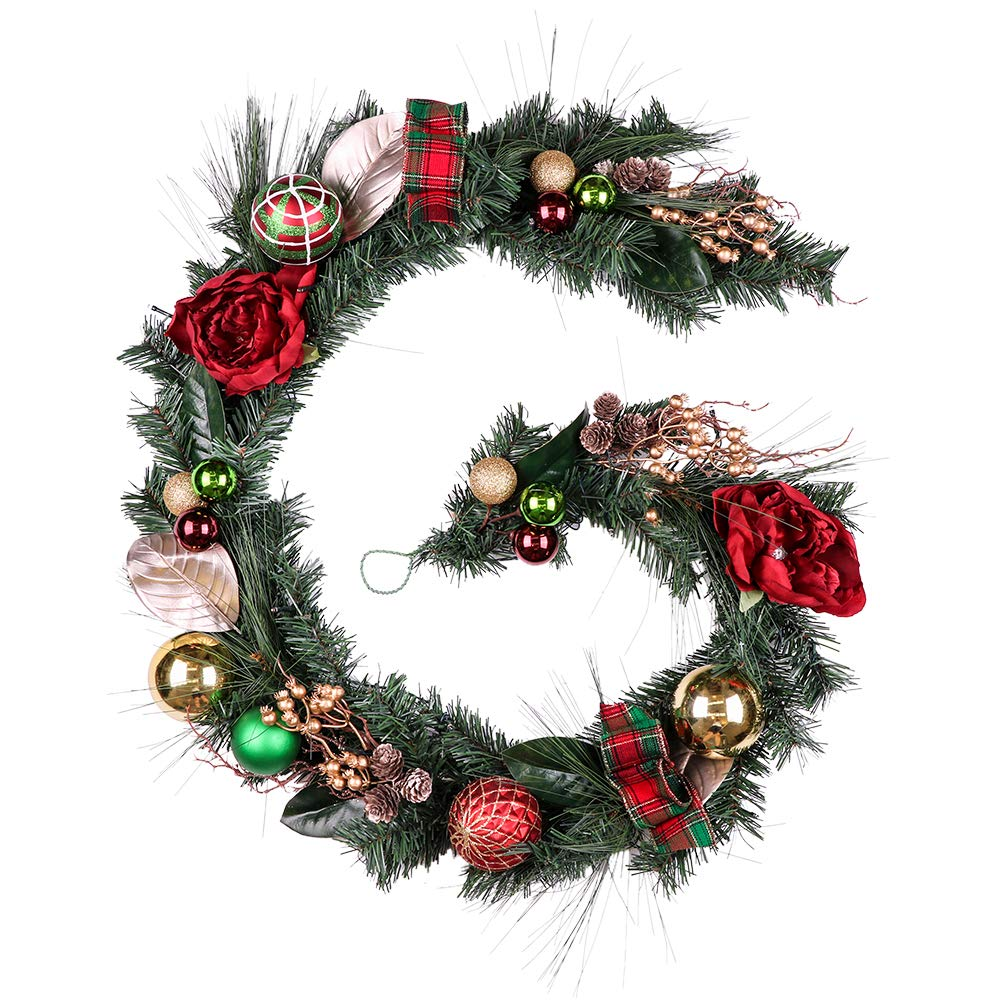 "Teresa's Collections 72"" Red Green and Gold Artificial Decorative Christmas Garland Pre-Lit,Battery Operated 20 LED Lights with Christmas Ball Ornaments,Berries,Pine Cones,Tartan Ribbons and Flowers"
