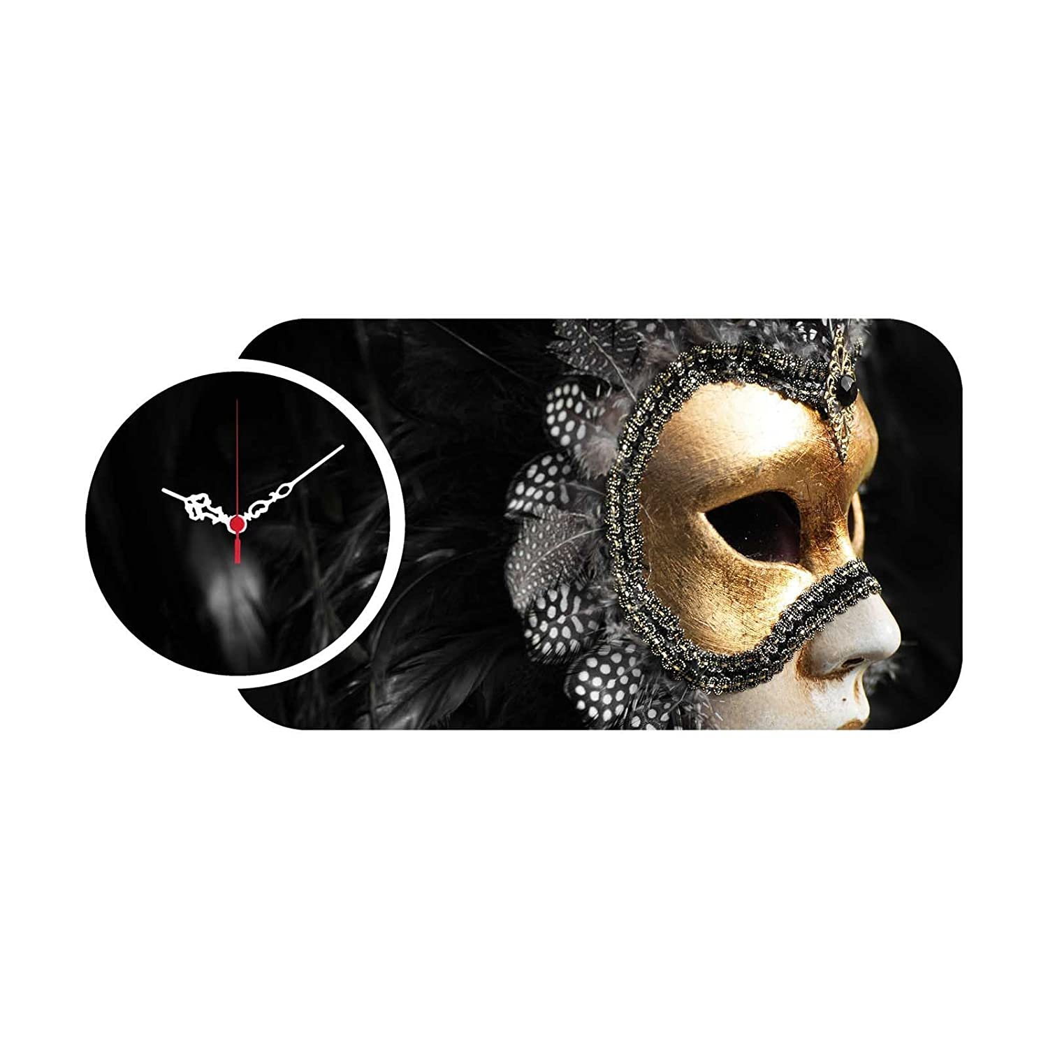 Black Swan Size 27 x 13 Childrens Room Size Dorm Ready to Hang - Wall Art Hanging for Living Room LaModaHome MDF Real Running Clock Mask with Feathers 27 x 13 Bedroom - Wall Art Hanging for Living Room Children/'s Room 238HMA5146
