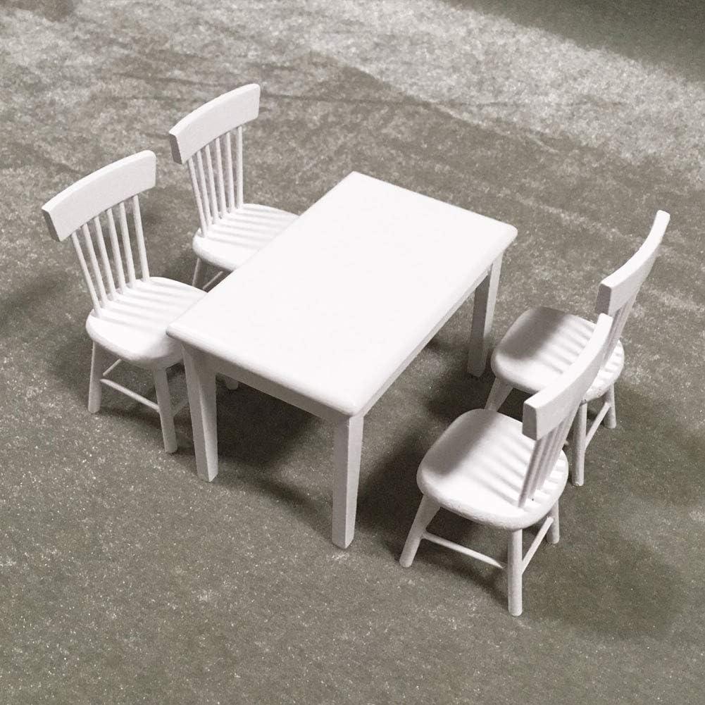 NorCWulT Miniatur-Dining Wei/ß Tisch Stuhl Puppenstuben Stilvolle tragbare Mini-Holz-M/öbel-Set f/ür M/ädchen 5PCS