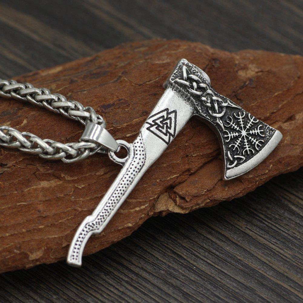 Mens necklace Men Viking Odin Mamen Nordic Viking Trinity Valknut Vegvisir Compass Amulet Pendant Necklace Talisman Jewelry