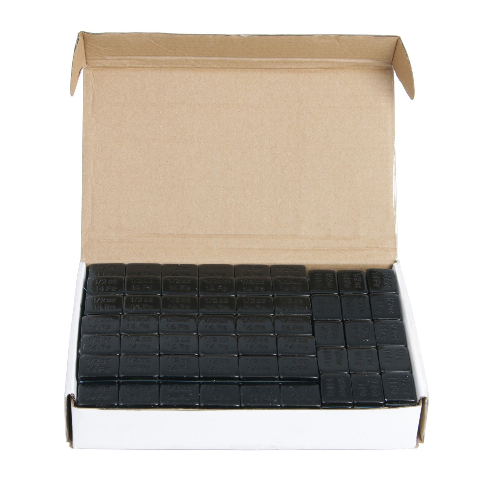(1) Box of 1/2 ounce (0.5oz) Black, Adhesive, Stick On Wheel Weights (Low Profile) - Zinc Plated (Lead Free) - 204oz (~13 lbs) total, 68 total 3-oz strips, 408 total pieces by Precision European Motorwerks (Image #1)