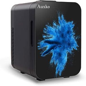 AUXKO Black Personal Mini Fridge 10 Liter/11 Can Portable Small Desk Refrigerator, Compact Cooler and Warmer for Food, Fruit, Drink, Medications, Bedroom, Dorm, Office, Car (Burst Blue)