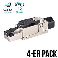 4 Stück Netzwerkstecker RJ45 CAT 6A geschirmt werkzeuglos Steckverbinder LAN Kabel Stecker CAT 7 Patchkabel Netzwerkkabel Toolless Modular Plug