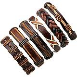 6pcs Brown Wrap Real leather bracelet for Boys friendship Bracelets Casual Wraps Cuff Casual Party Wear Skin Friendly By UV Trendz