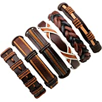 6pcs Brown Wrap Real leather bracelet for Boys friendship Bracelets Casual Wraps Cuff Casual Party Wear Skin Friendly By UV Trendz