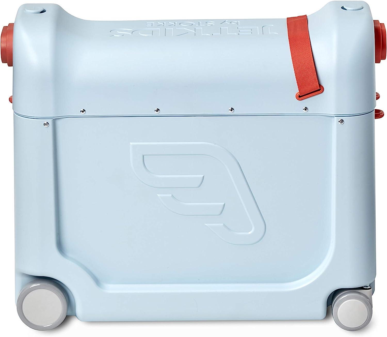 JetKids™ BedBox de STOKKE® - Maleta infantil de cabina con cama de viaje│Trolley con asiento de 4 ruedas para niños│Colour: Blue Sky