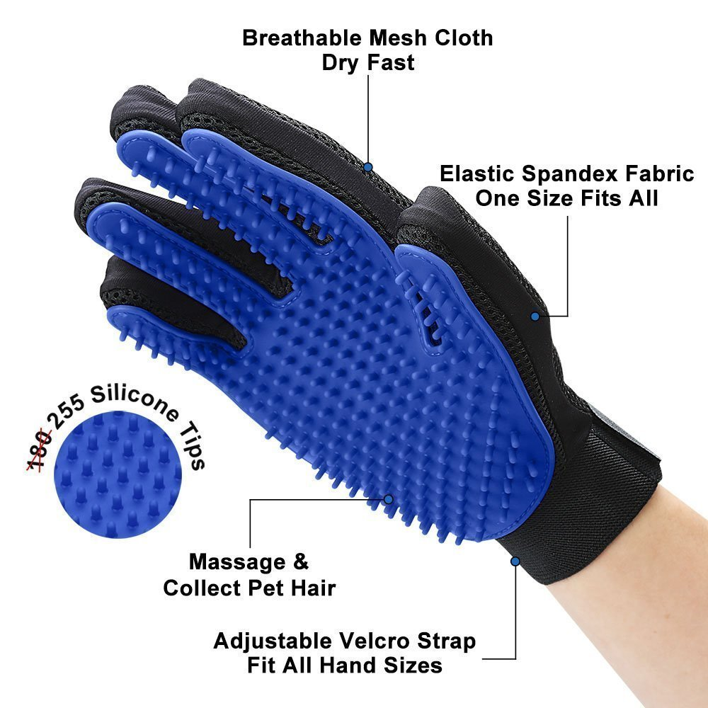 Pet Grooming Glove Deshedding Brush for Dogs & Cats with Long & Short Fur
