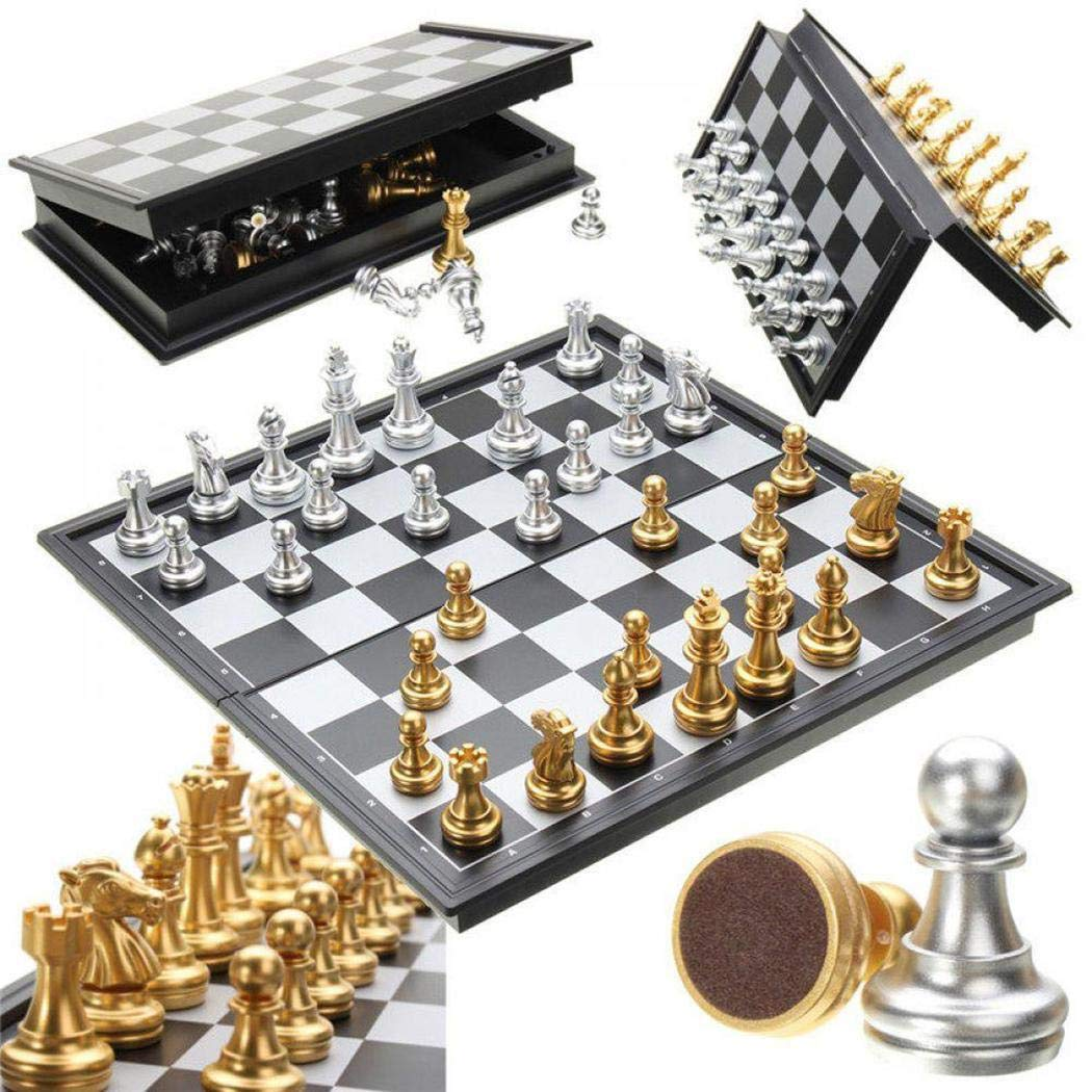 Hello22 Folding Magnetic Travel Chess Set Great Travel Toy Set for Kids or Adults Chess Board Game 14X14X0.8 inch (Gold&Silver Chess Pieces)