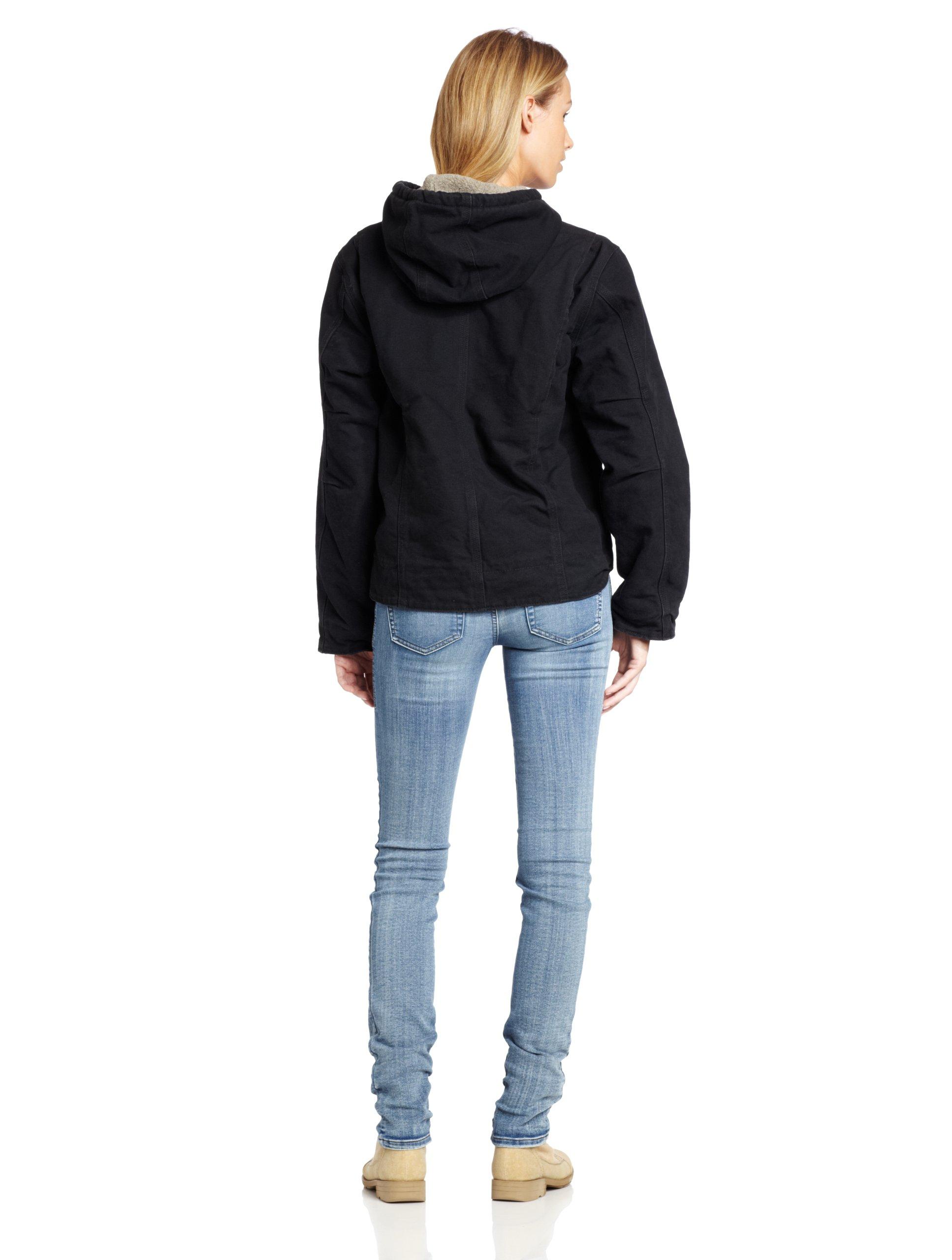 Carhartt Women's Sherpa Lined Sandstone Sierra Jacket Zip Front Hooded WJ141,Black,Large by Carhartt (Image #2)