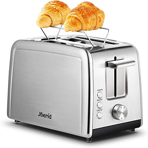 Toaster 2 Slice, Joerid Best Prime Rated Stainless Steel Toaster with Warming Rack, Toaster with Extra-Wide Slot 7 Shade Settings, Defrost Reheat Cancel Function, Small Toaster for Bread Waffles