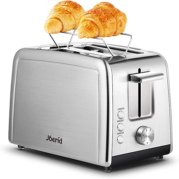 Toaster 2 Slice, Joerid Best Prime Rated Stainless Steel Toaster with Warming Rack, Toaster with Extra-Wide Slot & 7 Shade Settings, Defrost/Reheat/Cancel Function, Small Toaster for Bread Waffles