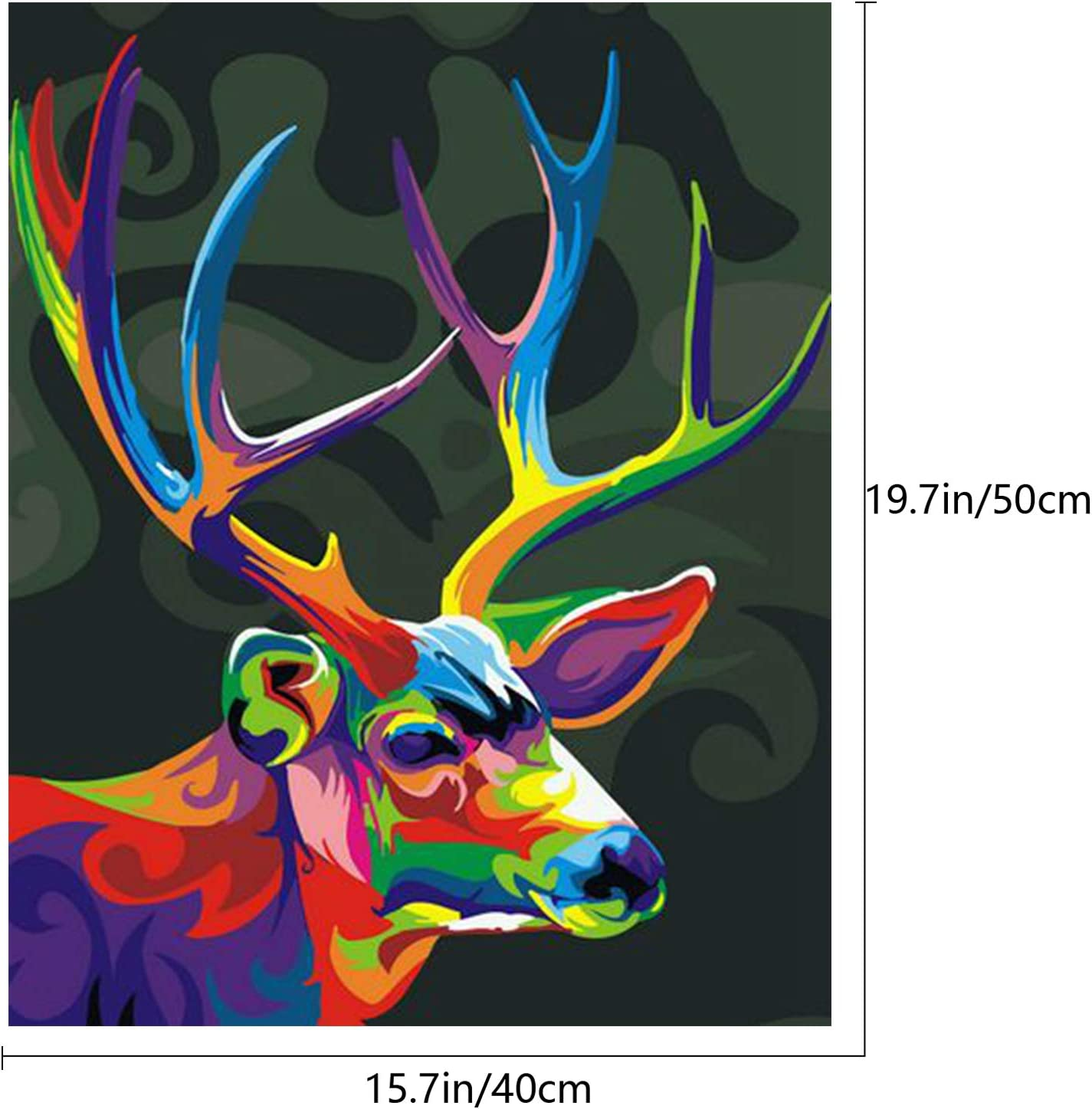 "SENWANG Paint by Number for Adult Oil Painting Canvas Kits 16/"" x 20/"" Paintwork with 26 Brushes Pigments Art Crafts for Home DIY Wall Decor Neon Deer"