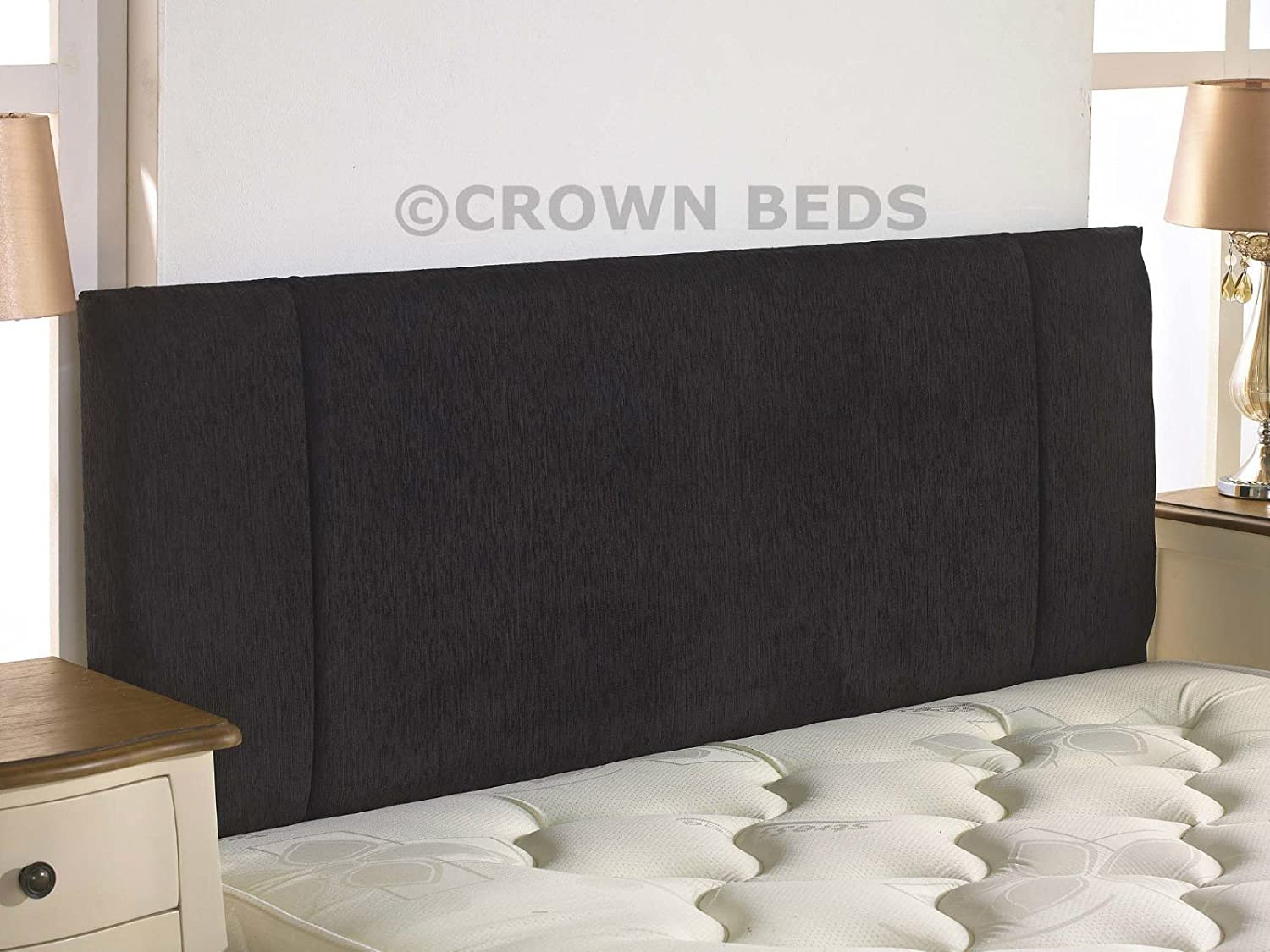 CROWNBEDSUK QUALITY PORTOBELLO CHENILLE HEADBOARD 2ft6,3ft,4ft,4ft6,5ft,6ft (2FT6 SMALL SINGLE, Black)