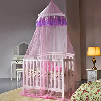 Costway Mosquito Net Netting Mesh Bed Canopy Fly Insect Protection Round Dome Lace Pink : mesh bed canopy - memphite.com